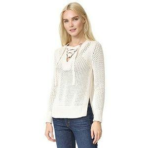 Derek Lam Cream/Natural lace up knit sweater L